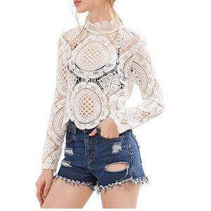 Tops - Sexy Mock Neck Sheer Crochet Lace Top